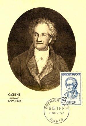Postal máximo sobre Goethe, em Paris